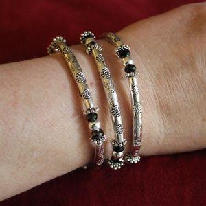 Jewelry - Silver and Black Wire Wrap Bracelet